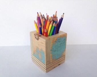 Pencil Box Desk Organizer Makeup Brush Organizer  Handmade using Reclaimed Wood