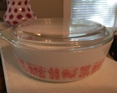 HTF  Pyrex Pink Butterprint 471 Round Casserole.  Excellent Condition.
