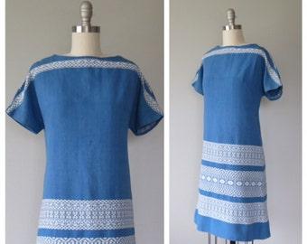 60s cotton shift dress size small  / ethnic dress / guatemalan woven dress