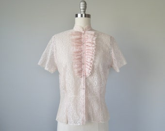 50s sheer pink lace Judy Bond blouse rhinestone buttons size small - medium