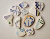 RESERVED FOR PAM,Patterned  Sea Pottery Lot, Ornamental/Geometric Pattern, Pendant/Ring Sized, Blue on White, Mosaic Pieces