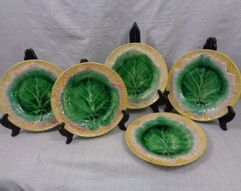 Antique Majolica Leaf Plates, Etruscan Marked, Set Of Five Majolica Plates