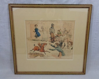 """Antique Framed And Colored Art Print """"British Proverbs"""", By Henry Alken"""