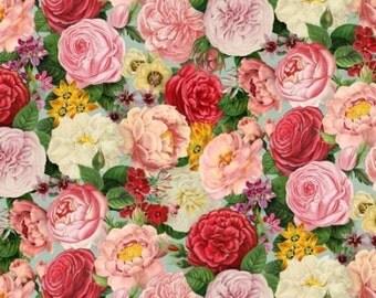 Fat Quarter Spring In Paris Flowers, Floral 100% Cotton Quilting Fabric On Azure