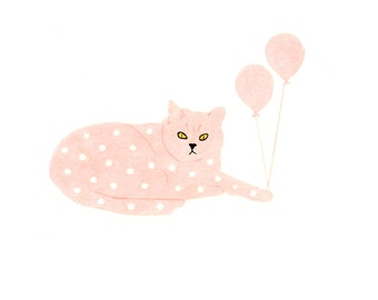 Cat Birthday Card - Peach Spotted Cat with Balloons