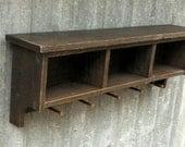 Custom Reclaimed Ebonized Barnwood Coat Rack Shelf Cubby and Bench for Angie in WI