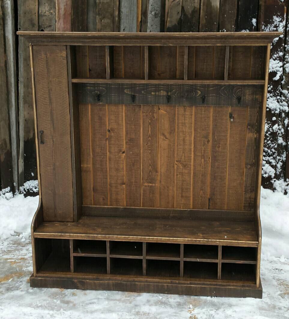 Rustic Reclaimed Hall Tree Locker Bench By Echopeakdesign
