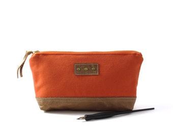 Orange canvas zipper pouch, orange pencil case, orange pencil bag, canvas leather pouch, artist zipper pouch, orange zipper pouch