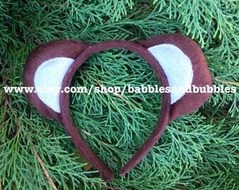 Comfortable Brown & White Felt Teddy Bear Ears - Mouse Ears - Teddy Bear Ears Headband Halloween Costume - NEXT DAY SHIPPING!