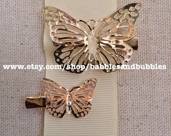 BOHO Vintage-Style Gold or Black Plate Butterfly Hair Clips - Fast Shipping