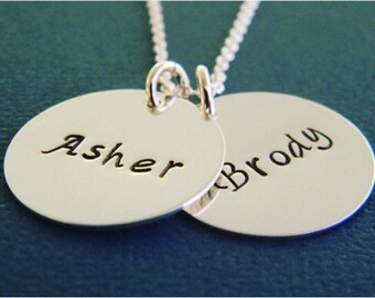 Personalized Mother Name Necklace, Custom Made Hand Stamped Sterling Silver 2 Name Monogram Mother, Grandmother, Nana Necklace, 3/4""