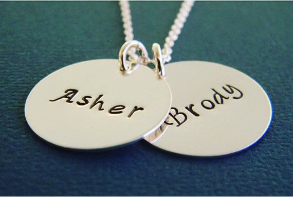 """Personalized Mother Name Necklace, Custom Made Hand Stamped Sterling Silver 2 Name Monogram Mother, Grandmother, Nana Necklace, 3/4"""""""