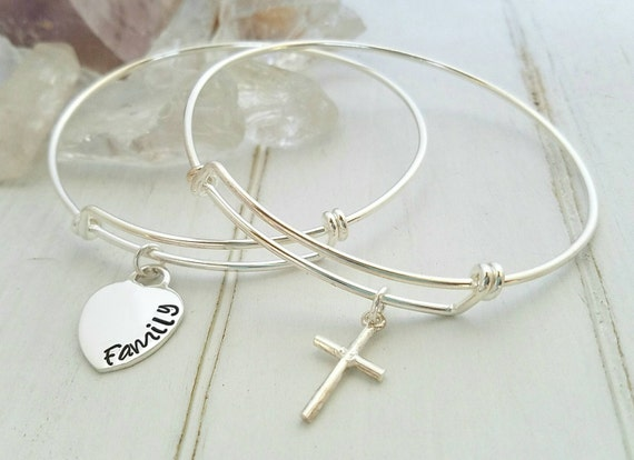 2 Adjustable Bracelets, Sterling Silver Bangle Bracelet, Personalized Name Bracelet, Stackable charm bracelet, Expandable Bracelets, Bangles