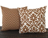 Pillow Pair, Throw Pillow, Pillow Cover, Cushion, Decorative Pillow, Caramel Brown Cream traditional contemporary modern decor