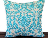 """Throw pillow cover One 20"""" x 20"""" Aqua turquoise and natural Dosset Abigail"""