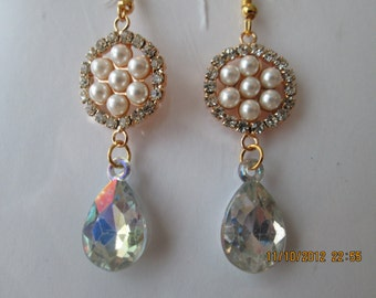 Gold Tone Dangle Earrings with White Pearl Beads and a Clear Teardrop Bead