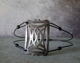 Minimalist, bangle bracelet, upcycled vintage, eco friendly, soldered jewelry, pierced metal bracelet, mixed metal bracelet, AnvilArtifacts