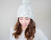 The Snow Bunny Pom // Chunky Pom Pom // Cable Knit Beanie // Toque // Slouchy Beanie // Pom Pom // Toasty // Cozy // Wheat