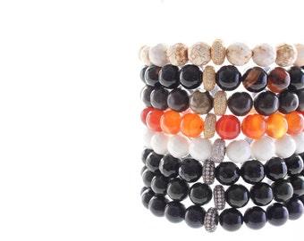 Gemstone and Flat Oval Micro Pave Beaded Bracelet