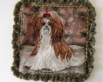 """Vintage dog needlepoint pillow cover, animal needlepoint, Yorkshire, tassel trim,  13.5"""" by 13.5"""", Victorian shabby cottage, gift idea"""