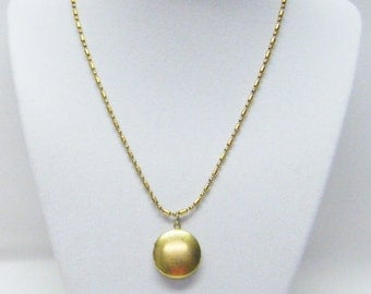 Small Raw Brass 20mm Round Lockets Pendant Necklace for Child