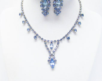 Blue Crystal Bid/Choker Necklace/Earrings Set