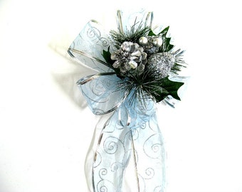 Silver and light blue Christmas bow, Bow for gift wrapping, Holiday gift bow, Large bow for Christmas wreaths, Christmas decoration (C505)