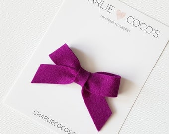 "SALE Baby / Girls Felt Bow Headband OR Hair Clip ""Berry"" -Premium Wool Felt Bow by charlie coco's"