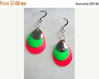 Everything Must Go Red,Green, and Silver Teardrop Earrings