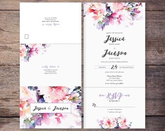 Printable Flower Watercolor Seal and Send Wedding Invite, Pink Floral, Send N' Seal Wedding Invitation, All in one invitation - Jessica