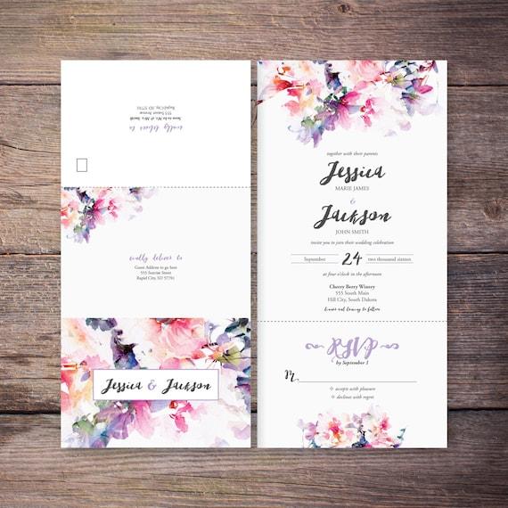 Printable Flower Watercolor Seal and Send Wedding
