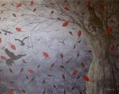 Original Crow Painting, Fantasy Landscape Artwork, Surreal Fine Art Painting, Red, Grey