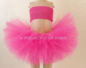 Hot Pink Tutu Skirt, Pink Tulle Skirt, Toddler Tutu, Girls Tutu