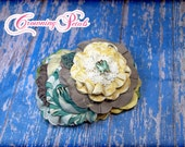 Mustard Pie Spring 2016, M2M Shangri la, Yellow, Taupe, Lime, Turquoise Headband, Hair Piece, Aqua, Ivory Lace, Spring Hair Clip