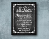 Please Sign a heart Guestbook alternative - PRINTED chalkboard wedding sign, Engagement sign, Wedding Guest book - with optional add ons