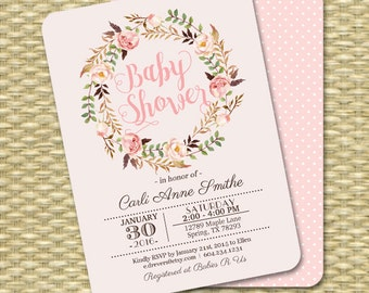 Baby Girl Shower Invitation Boho Baby Shower Blush Pink Printable Baby Sprinkle Any Event PRINTING AVAILABLE