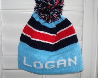 Personalized knit child's hat - LOGAN