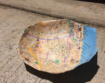 Nice, France Handmade Paper Mache Bowl, Upcycled Decorative Bowl, Made from Map and Newspaper