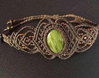 Macrame Bracelet, Jasper Bracelet, Boho Bracelet, Green Jasper, Gemstone Bracelet, Green and Brown Bracelet