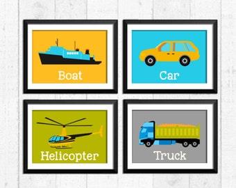 Vehicles boys decor, transportation boys wall art, construction boys decor, truck helicopter car boat prints, boys nursery posters, B-4035