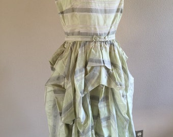50s Mint and Gray Stipe Summer dress with pick up Skirting
