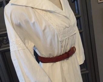 70s White Tunic Style Summer Dress