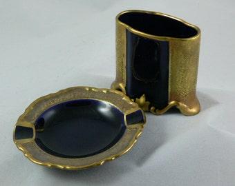 Smoking Set - Ashtray - Cigarette Holder - Gold - Cobalt - ALKA Kunst Kronach -  MG-349