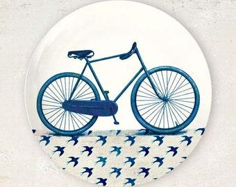 Vintage Blue bike melamine plate