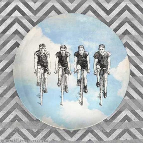 bikers in blue skies melamine plate