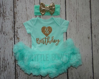 Half birthday Mint Green tutu dress-6 month outfit- Gold Glitter tutu Mint green tutu bodysuit- half birthday outfit- gold and Mint birthday