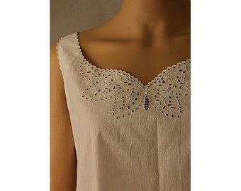 1910s white cotton night dress butterfly open lace