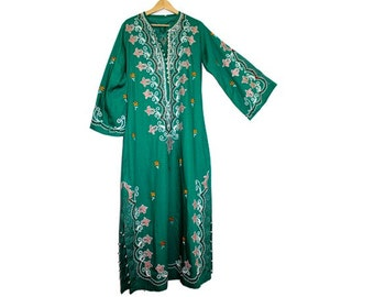 1970 EMBROIDERED KAFTAN  ethnic green cotton small medium