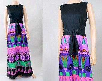 70s abstract long dress Tori Richard size 14