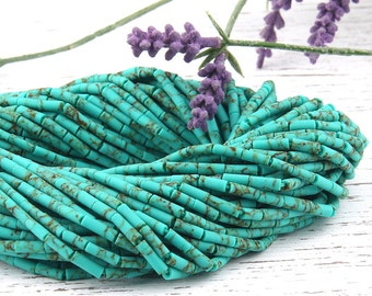Mint Green*Marble, Long Heishi Afghan Stone Beads, Handcut, 1 strand - 15 inches, 3,5x9mm // BD-025